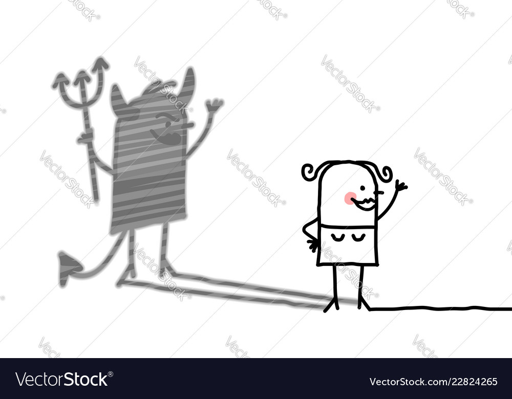 Cartoon woman with devil shadow