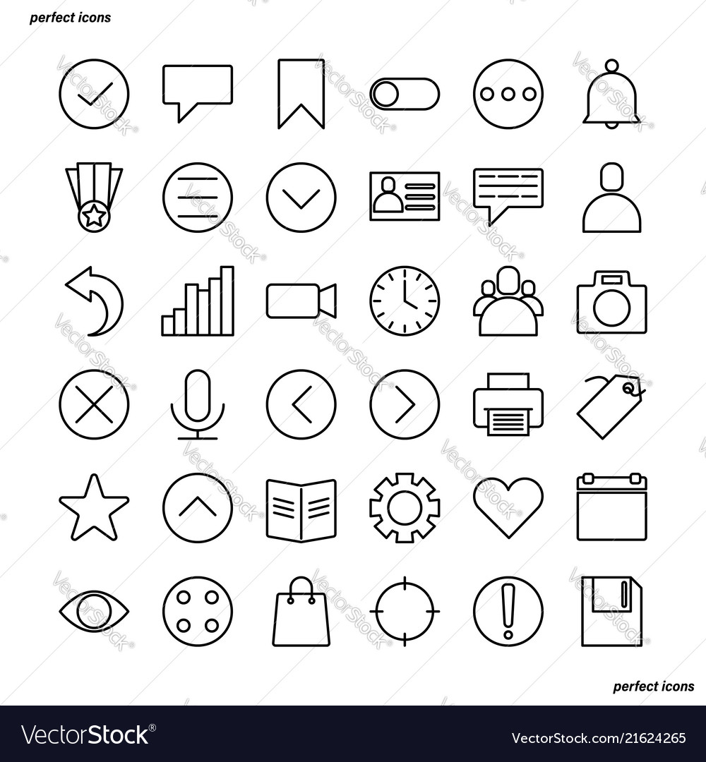 Essential outline icons perfect pixel