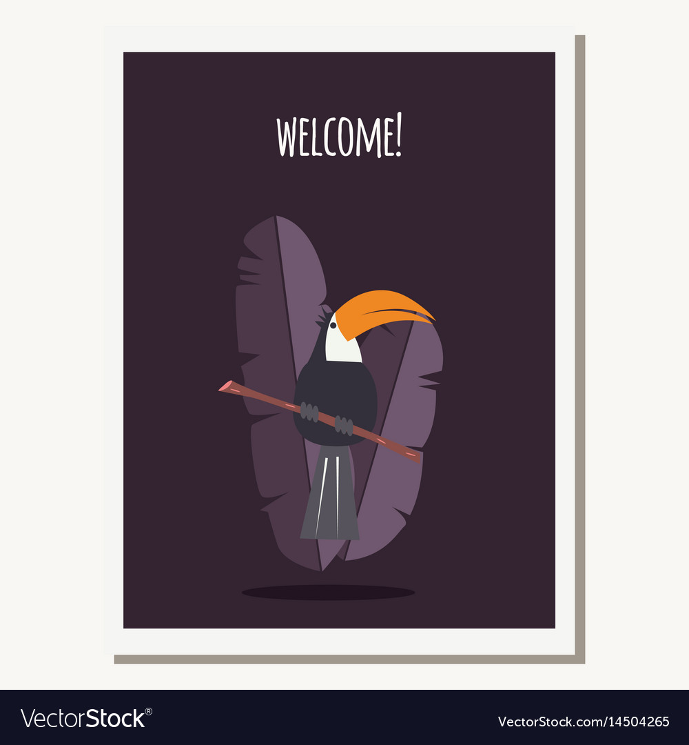 Greeting card with cute toucan parrot and text