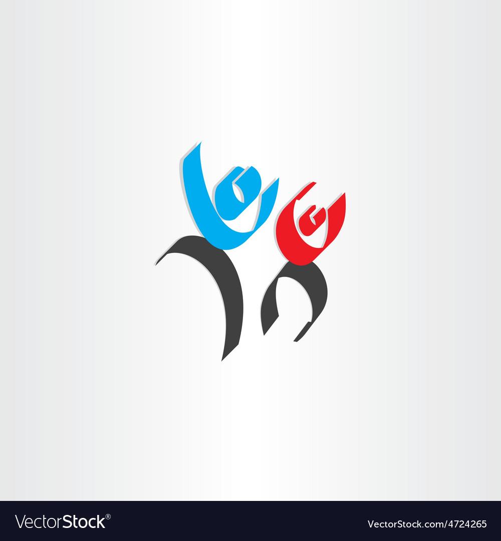 Happy people men calligraphy icon