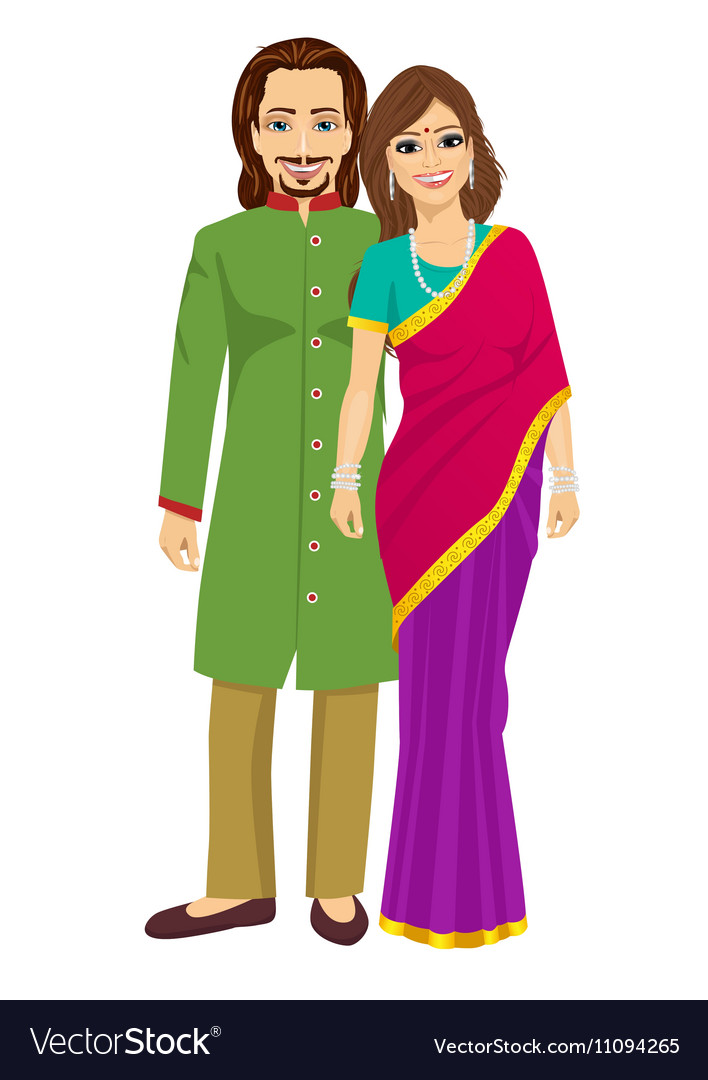 Indian young couple in traditional clothing vector image