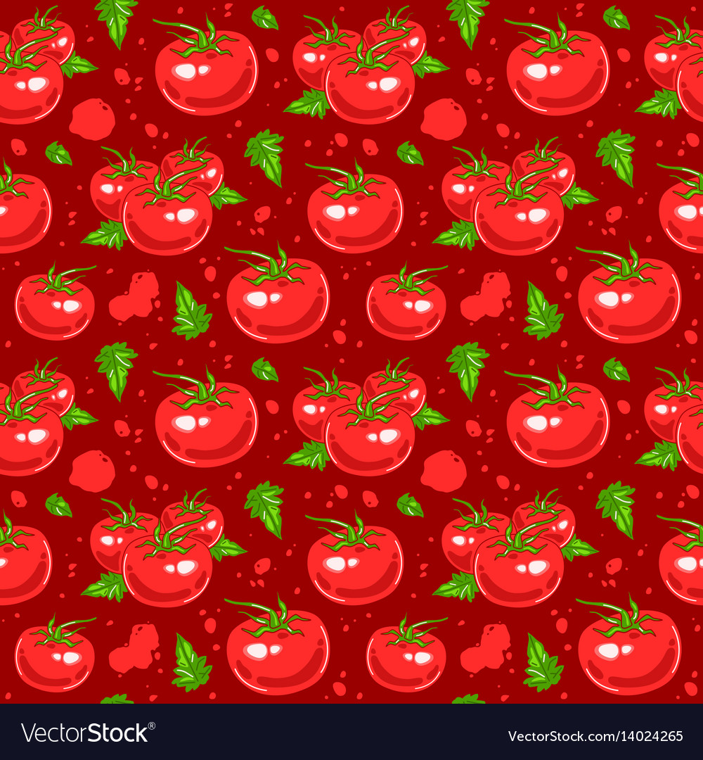 Juicy tomatoes seamless pattern vector image