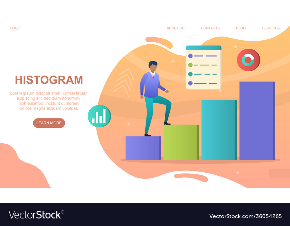 Male character is climbing up colorful histogram