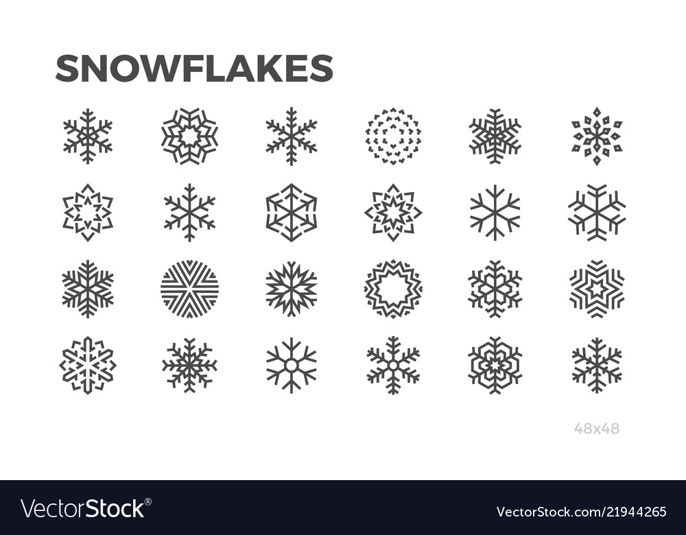 Snowflakes icons ice cold symbols editable line