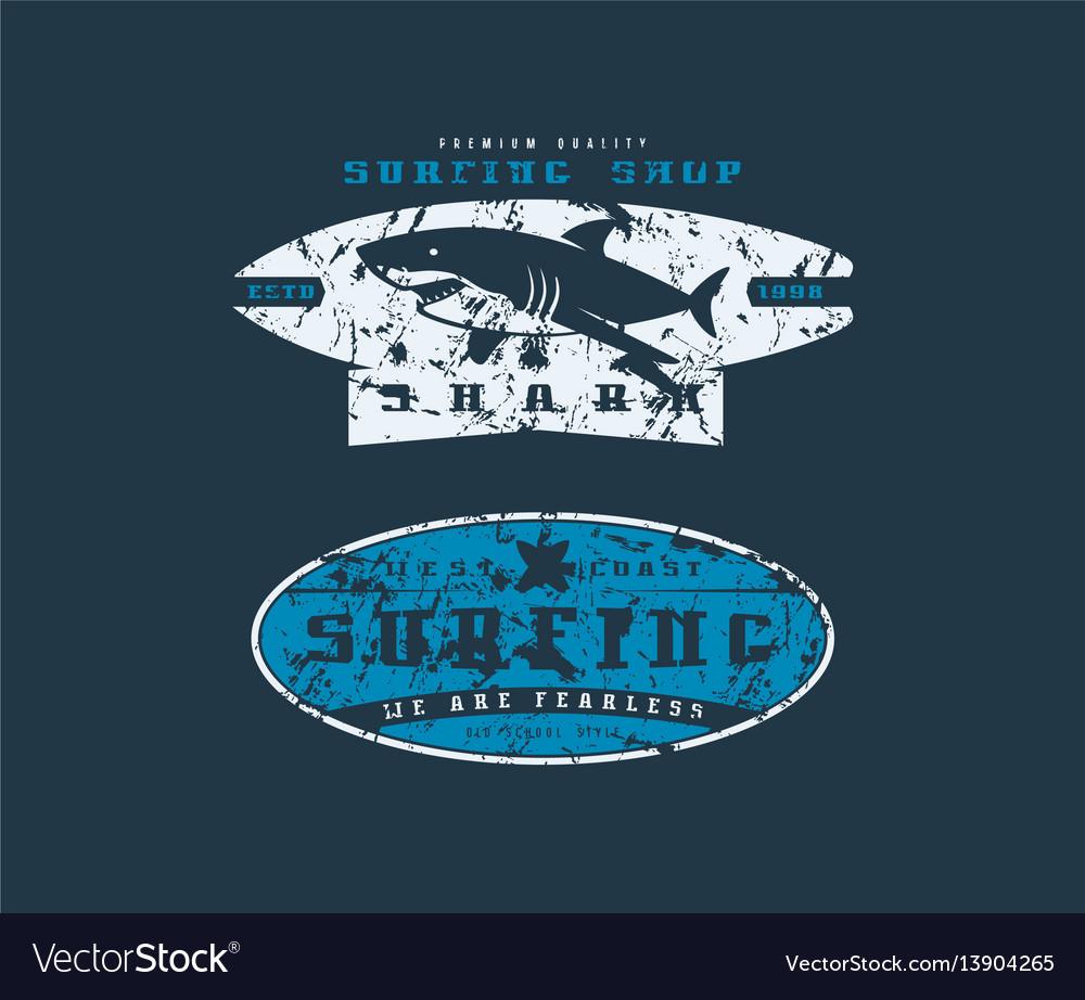 Surfing shop emblems graphic design for t-shirt