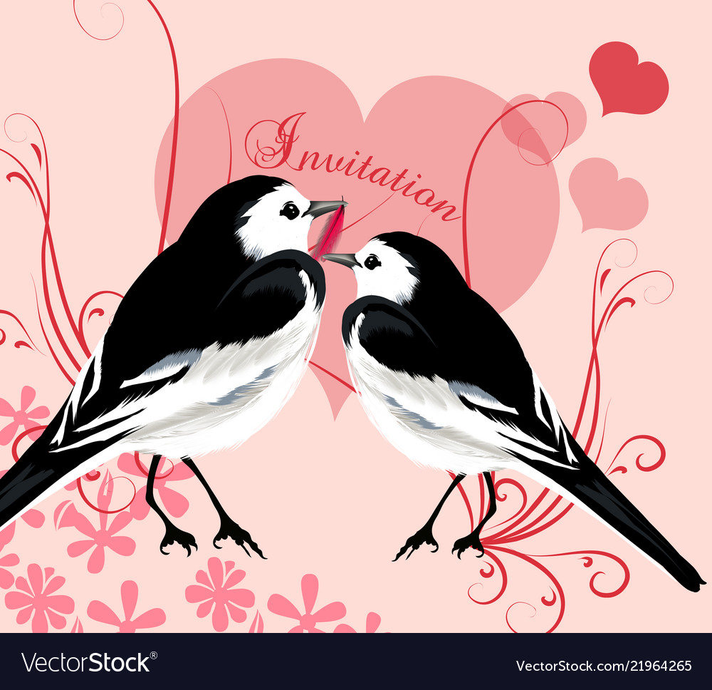 Valentine invitation card with couple of birds