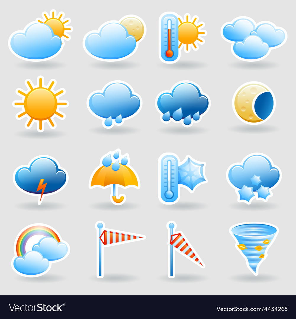 Weather Forecast Symbols Icons Set Royalty Free Vector Image