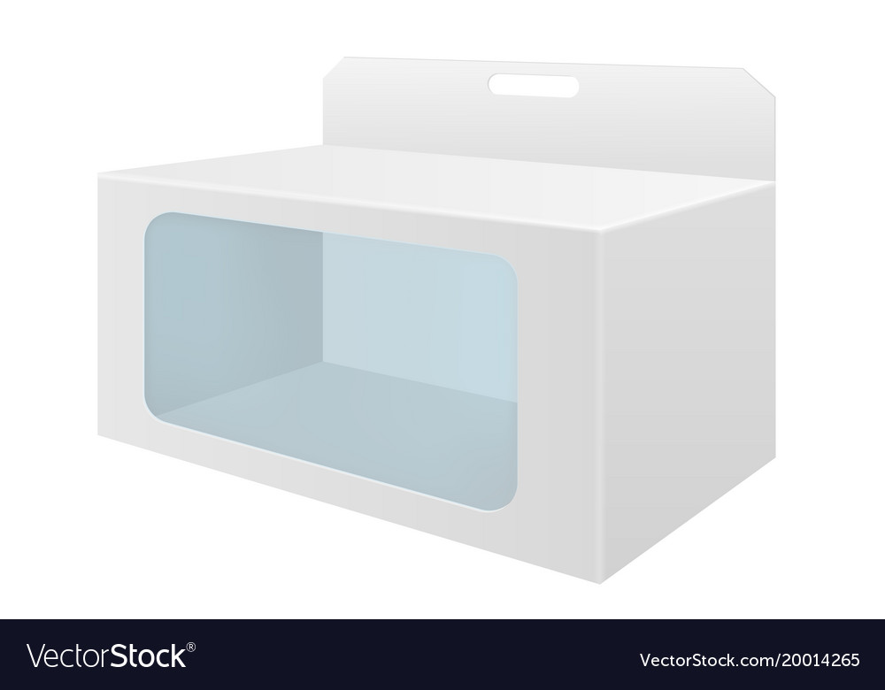 White cardboard box with transparent window