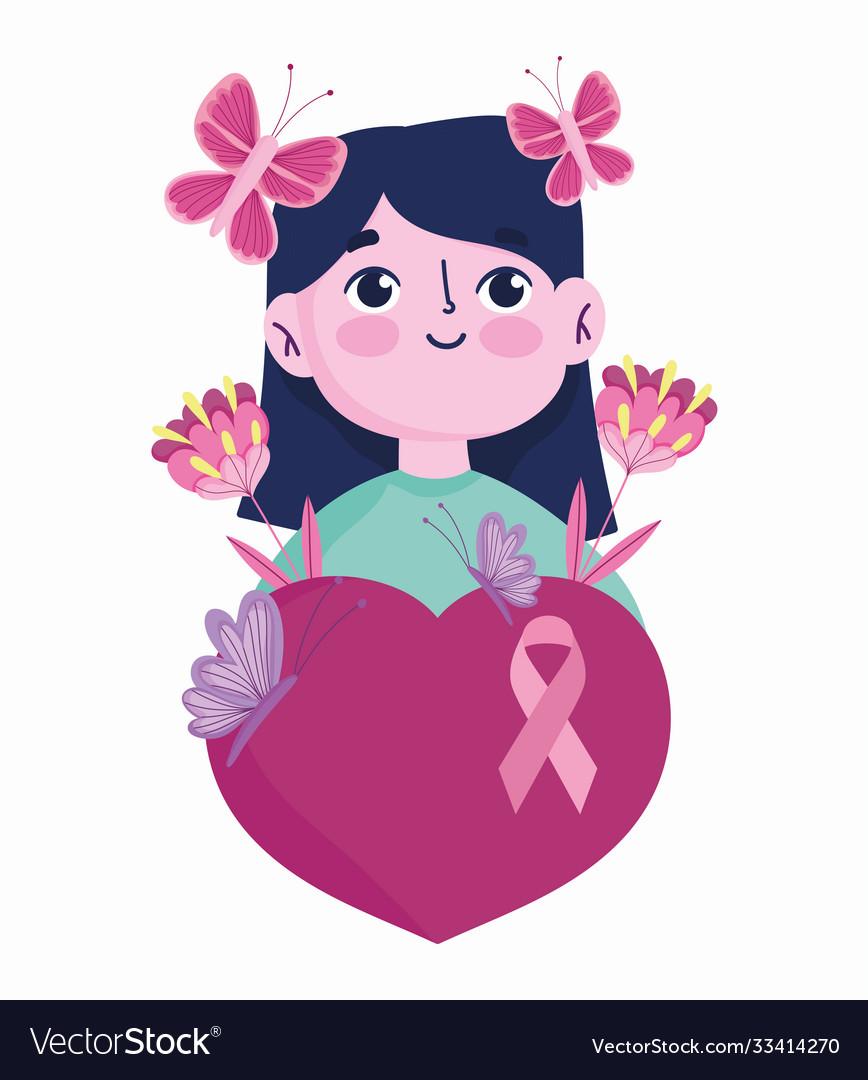 Breast cancer awareness month cartoon woman