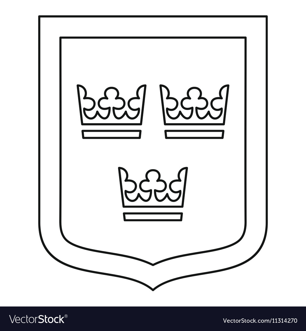 Coat of arms of Sweden icon outline style vector image