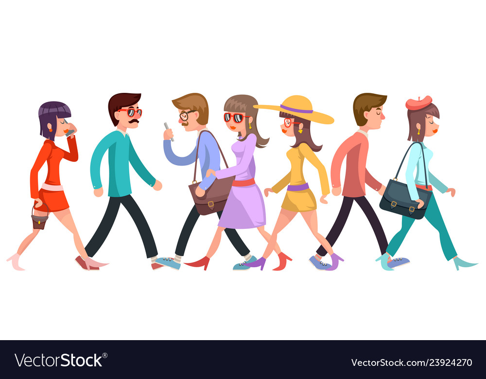 Crowd of fashionable young people walking
