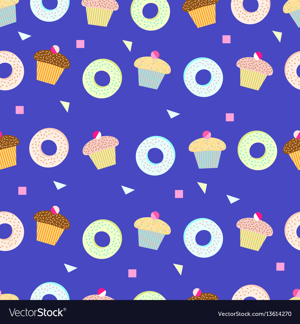 Delicious cupcakes and donut seamless pattern