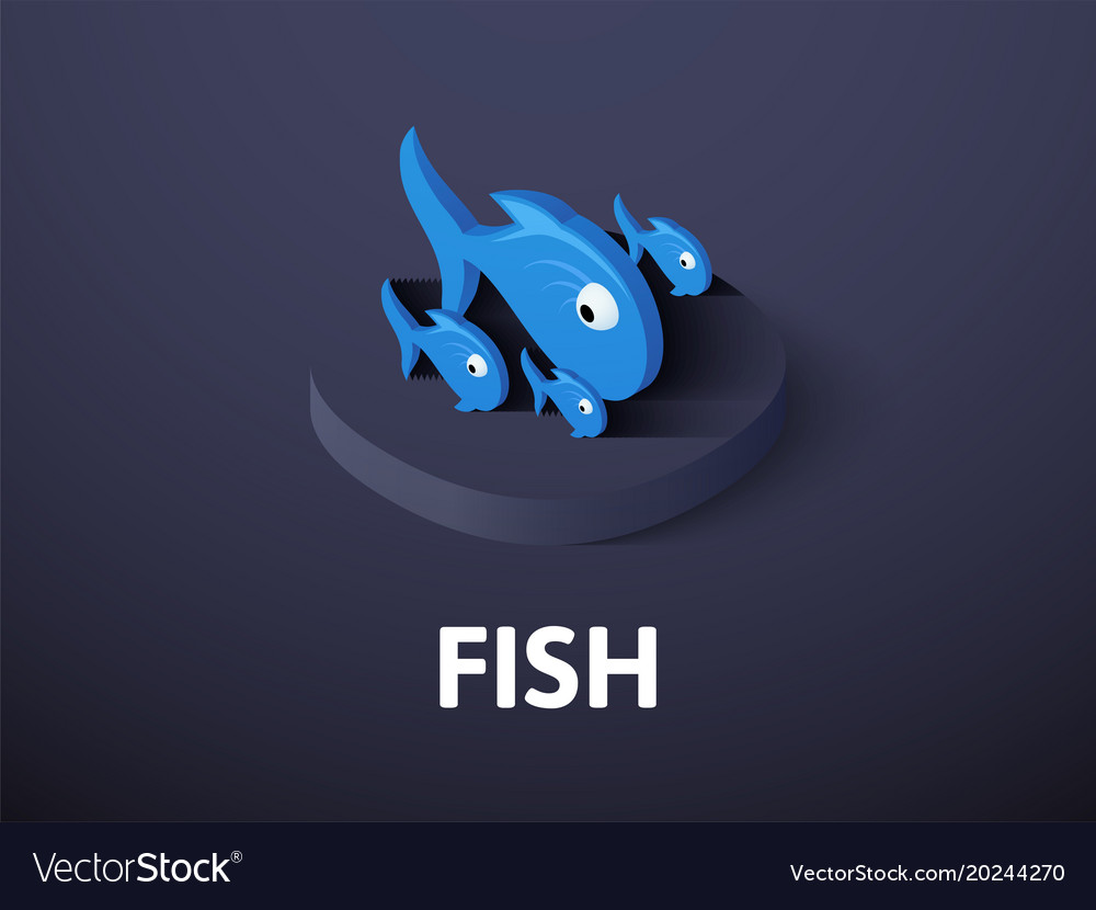 Fish isometric icon isolated on color background vector image