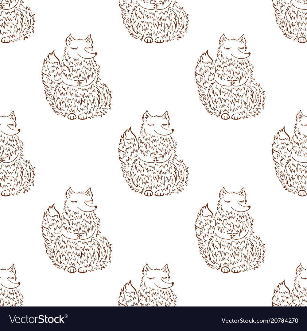 Fox sketch seamless pattern funny cartoon