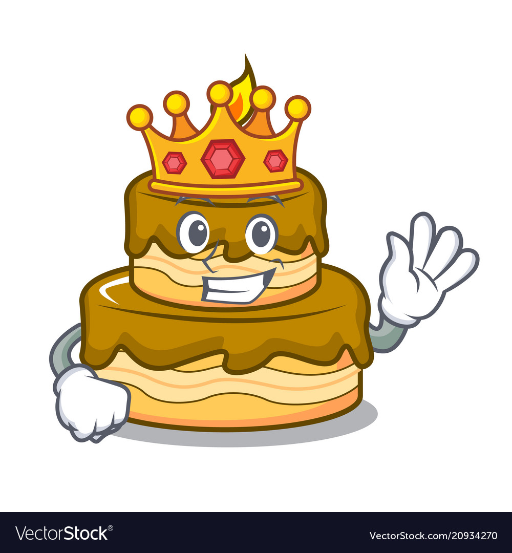King Birthday Cake Mascot Cartoon Royalty Free Vector Image