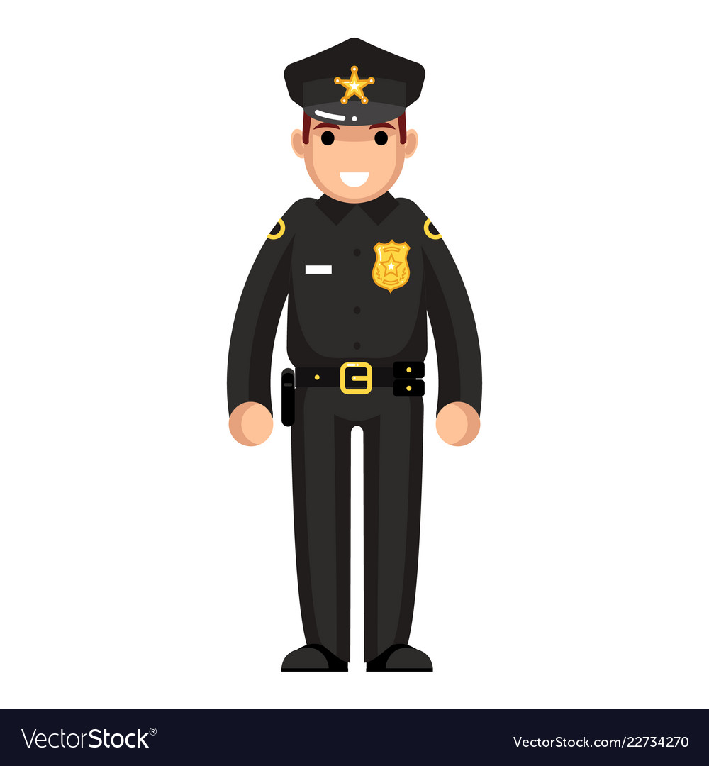 Policeman flat design character isolated