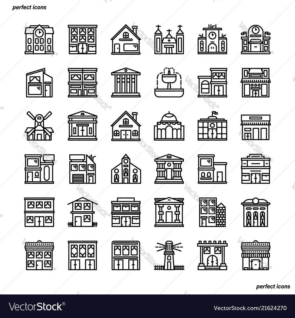 Real estate outline icons perfect pixel