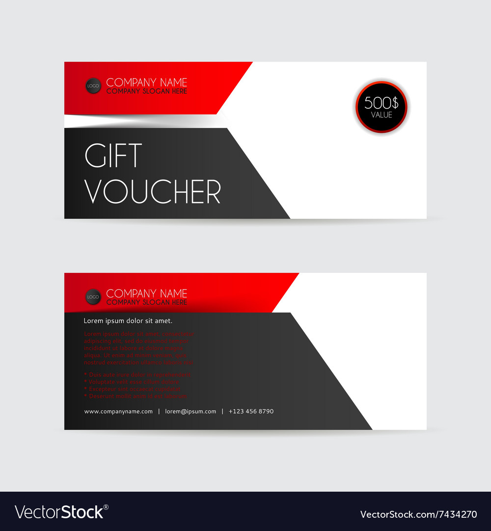 red and black gift voucher template royalty free vector