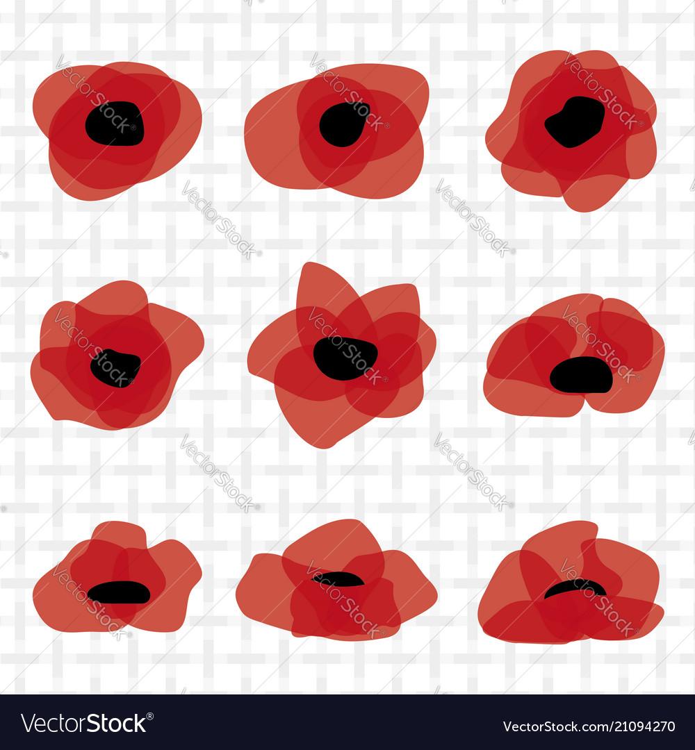 Red poppy flat icon stylized flower symbol vector image mightylinksfo