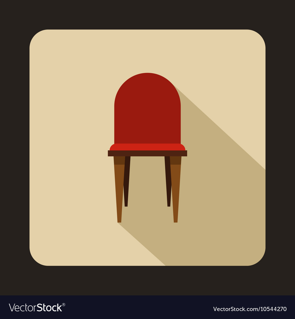 Red wooden chair icon flat style