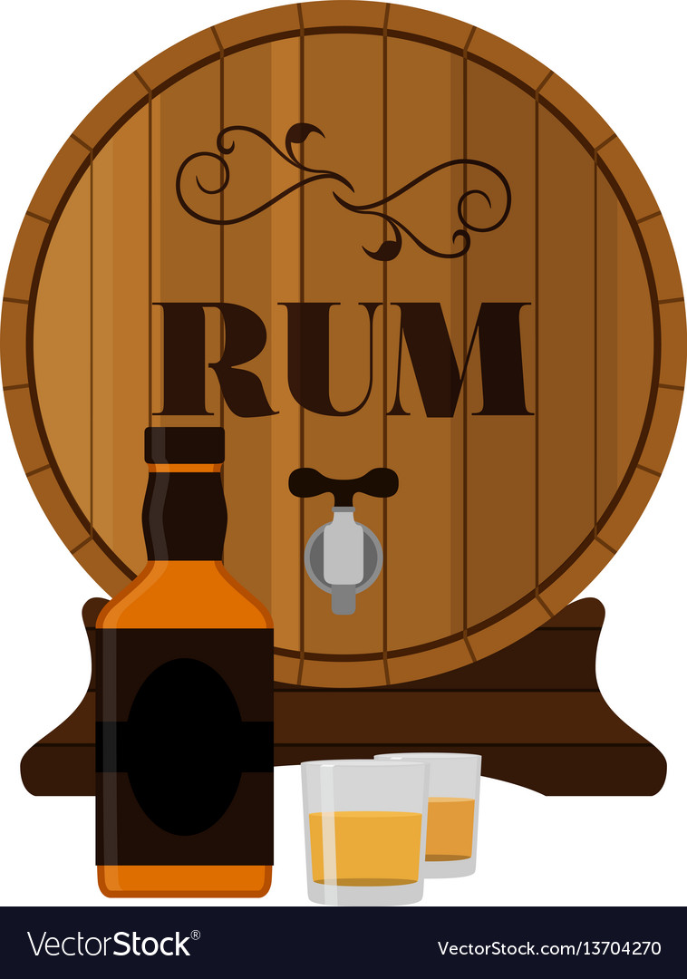 Rum wooden barrel with bottle and shots in flat