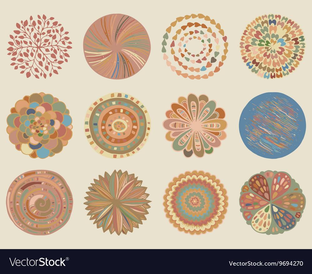 Set colorful beautiful deco mandalas