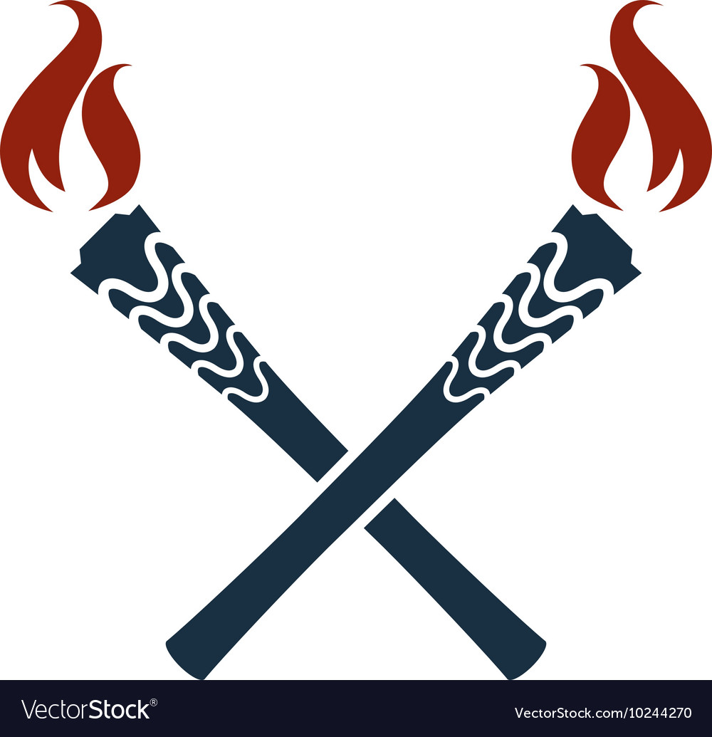 Torch icon isolated Olympic fire Flambeau vector image