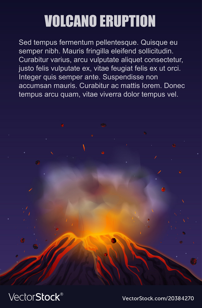 Volcano eruption with lava poster concept