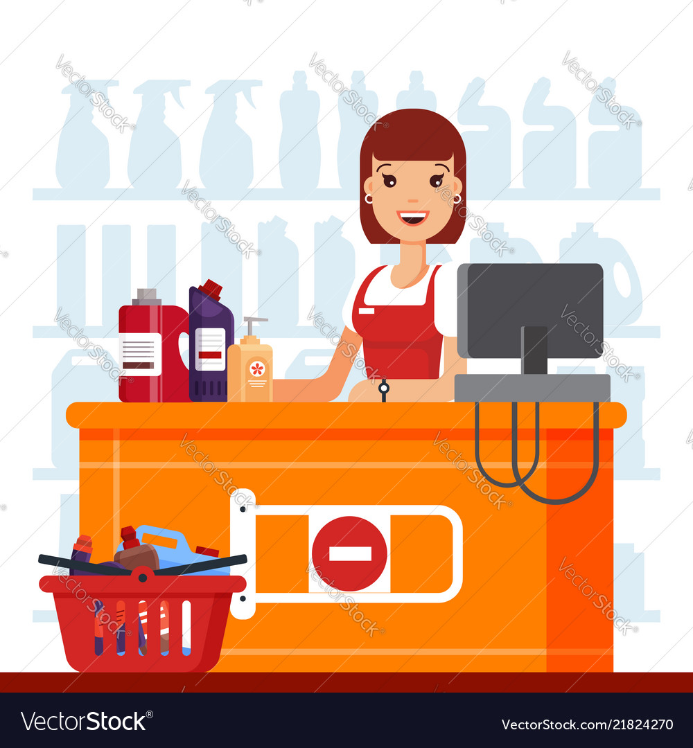Woman cashier in supermarket with household