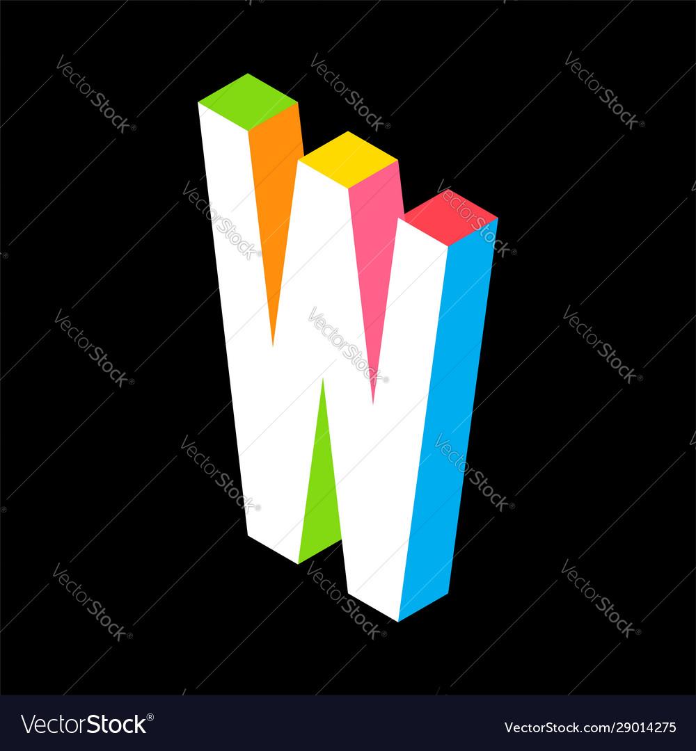 3d colorful letter w logo icon design template