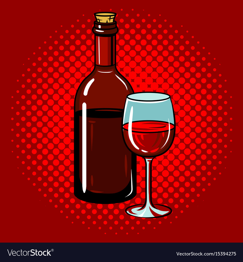 Bottle Of Wine With Glass Pop Art Royalty Free Vector Image
