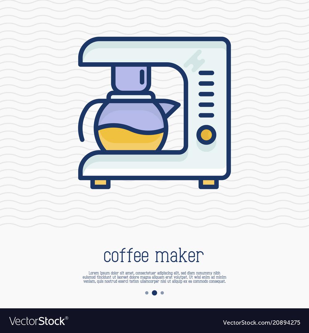 Coffee maker thin line icon