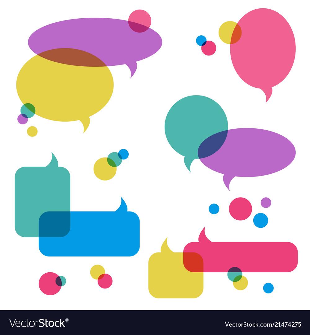 Color transparent speech bubbles icons set