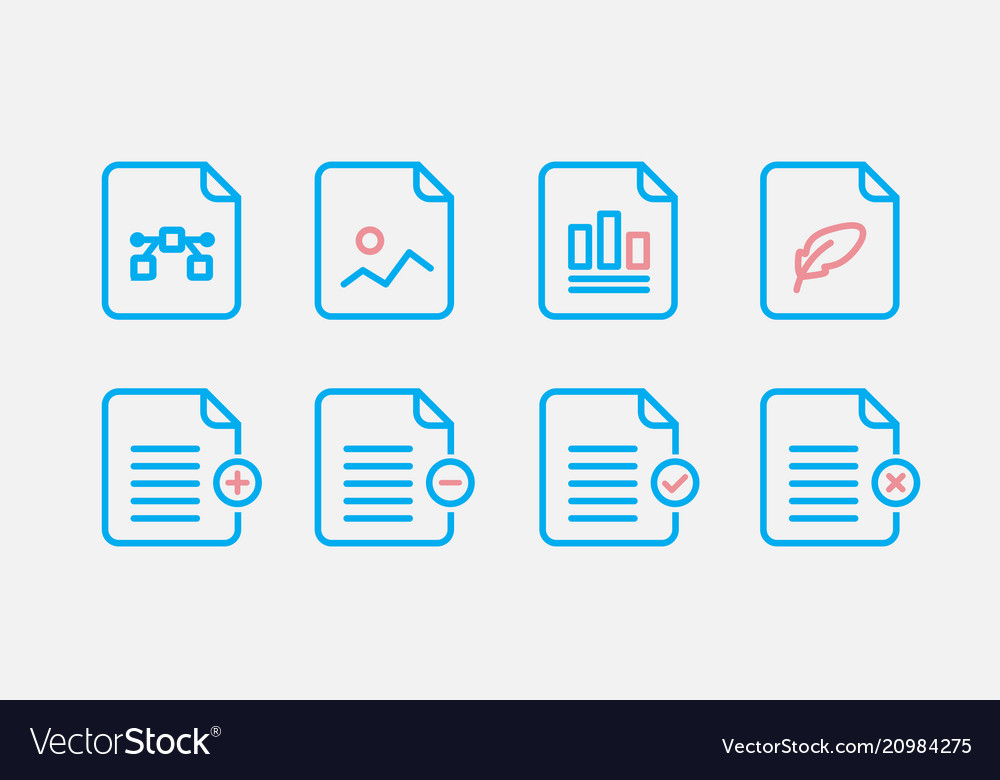 file type icon set simple set of file formats vector image