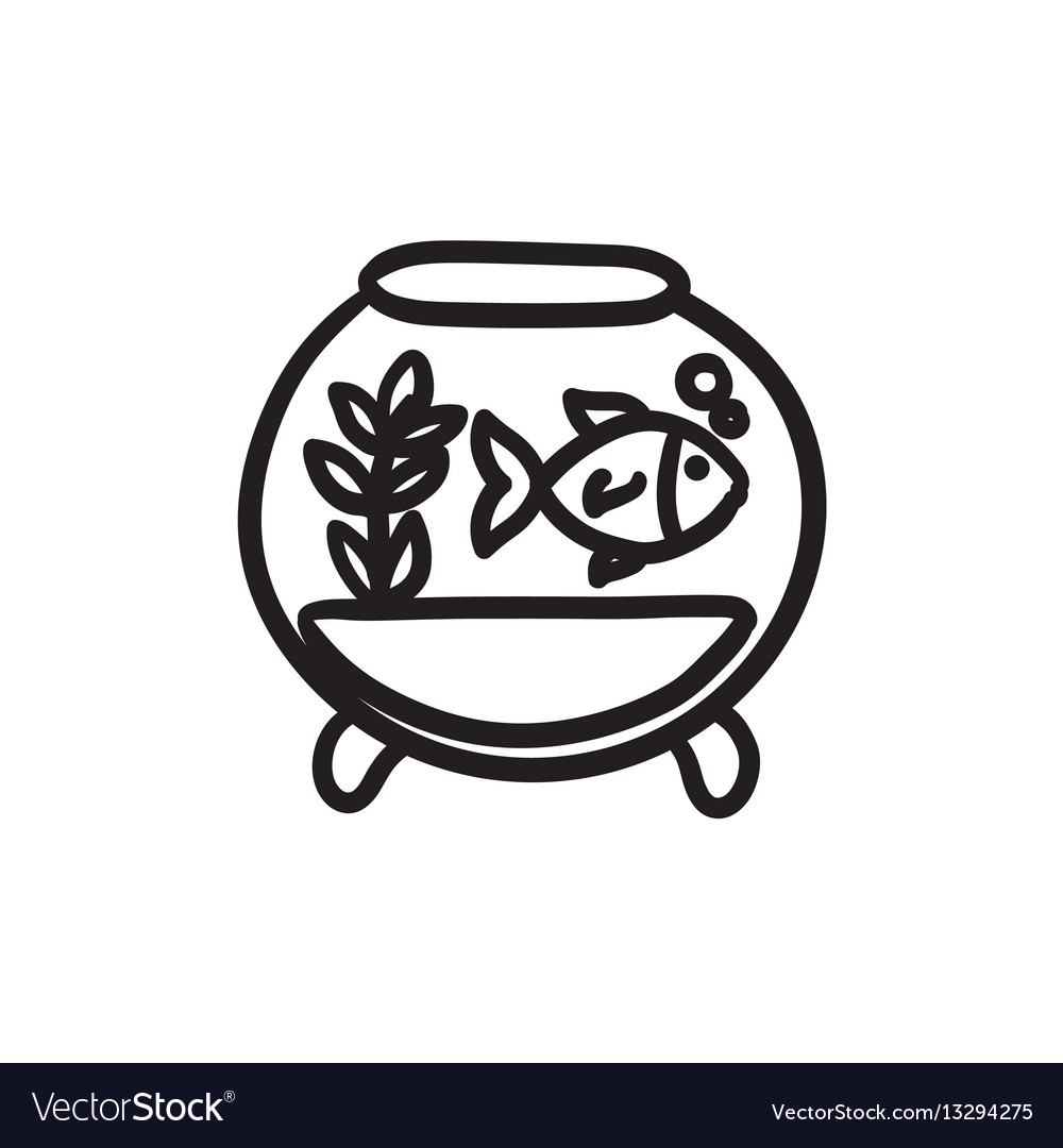Fish In Aquarium Sketch Icon Royalty Free Vector Image