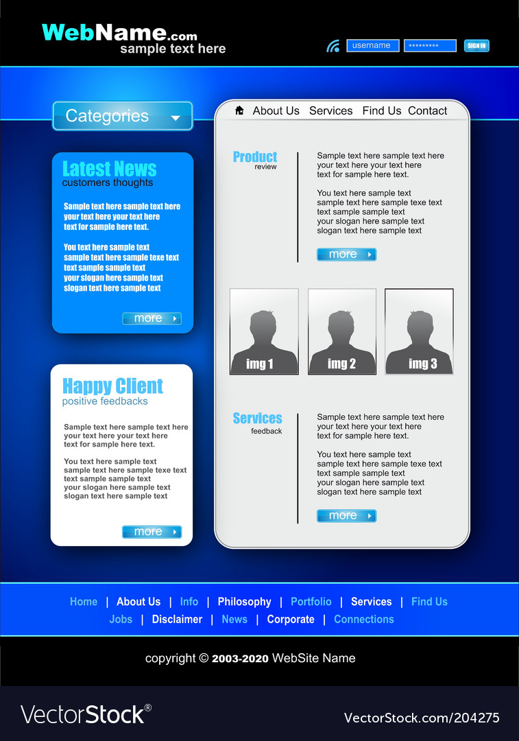 Futuristic Style Website Template Royalty Free Vector Image - About us template for website