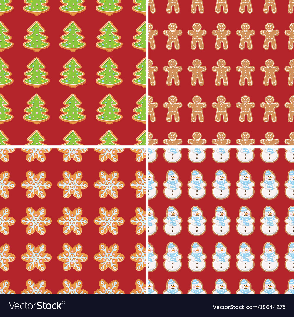 Ginger cookies seamless patterns christmas and