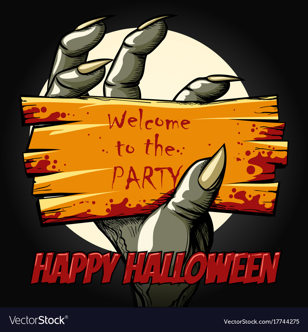 Halloween party poster with monster hand