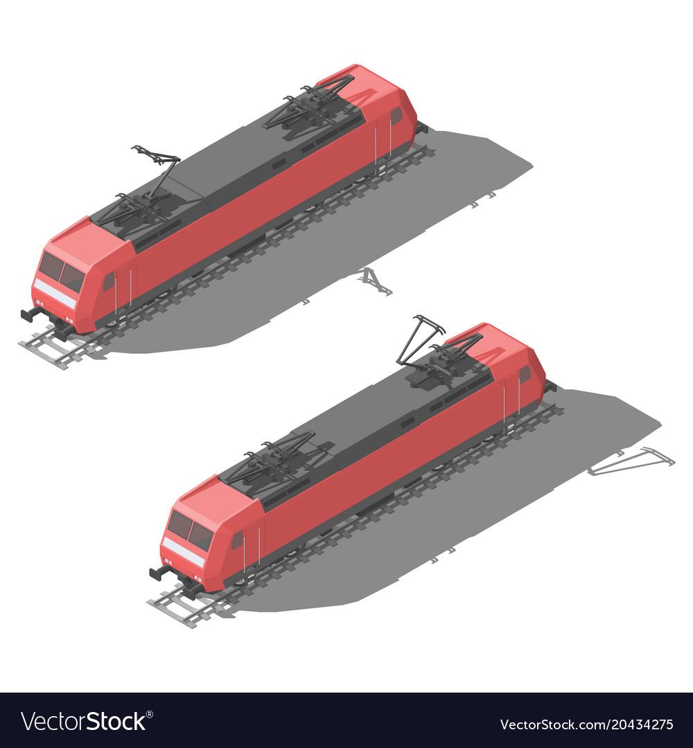 Modern electric locomotive isometric low poly icon