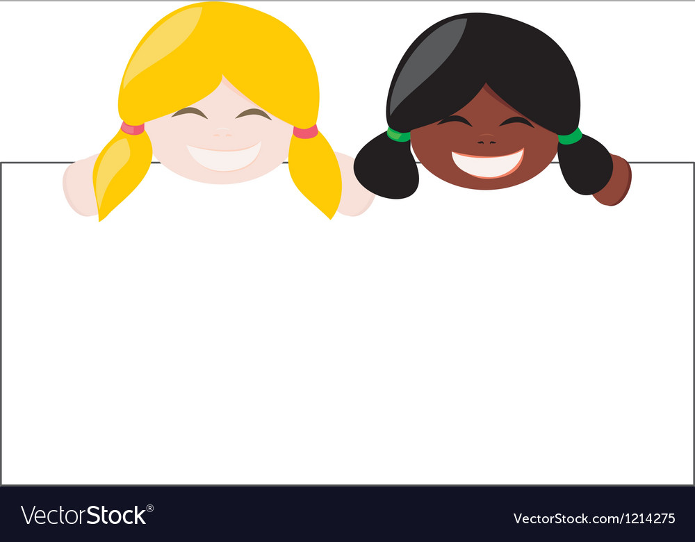 Multicultural girls holding white empty banner