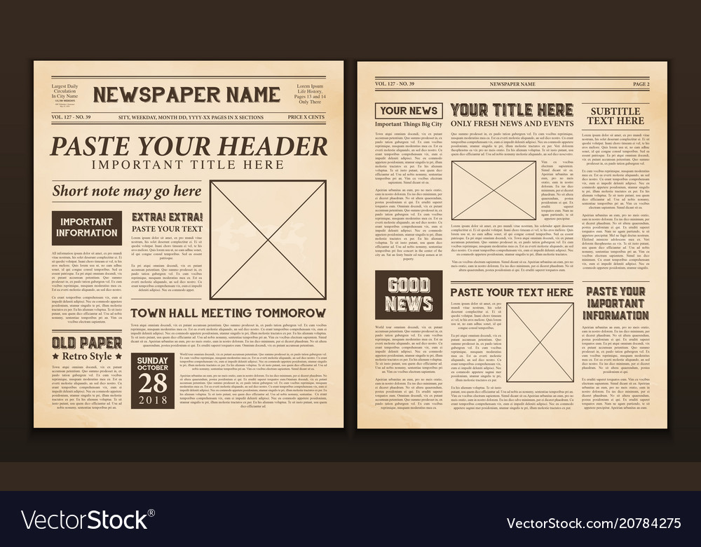 Newspaper Pages Template Vintage Royalty Free Vector Image