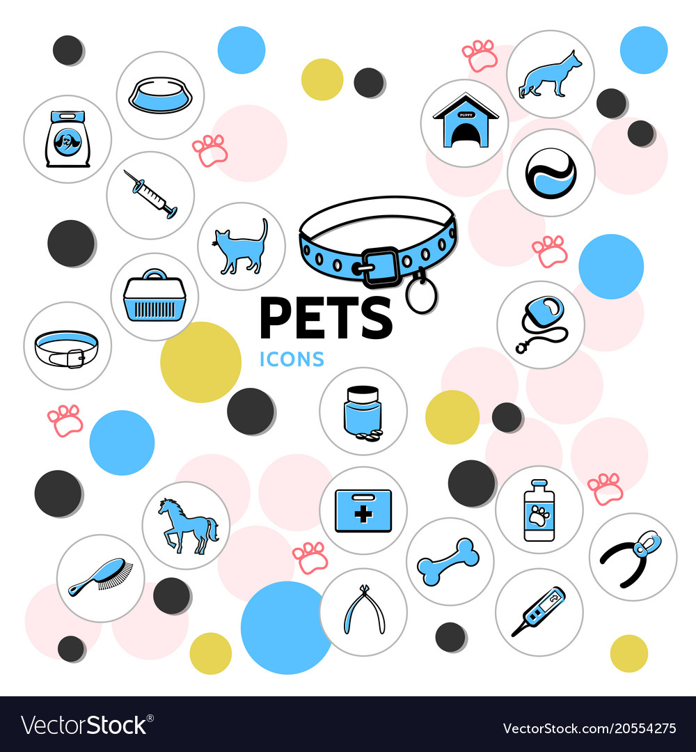 Pets line icons collection