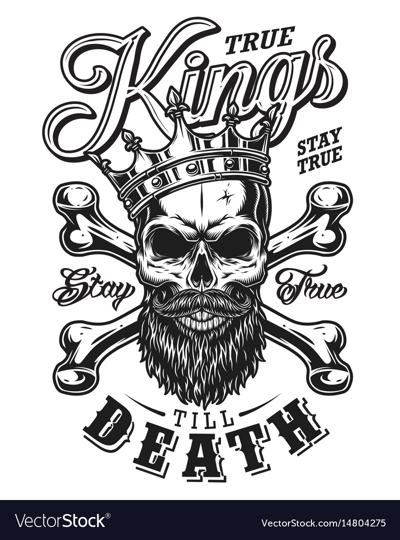 Quote typography with black and white king skull vector image