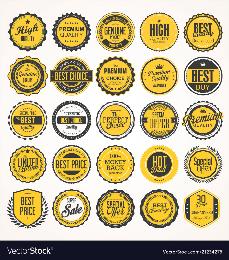 Retro vintage badge and label black and yellow