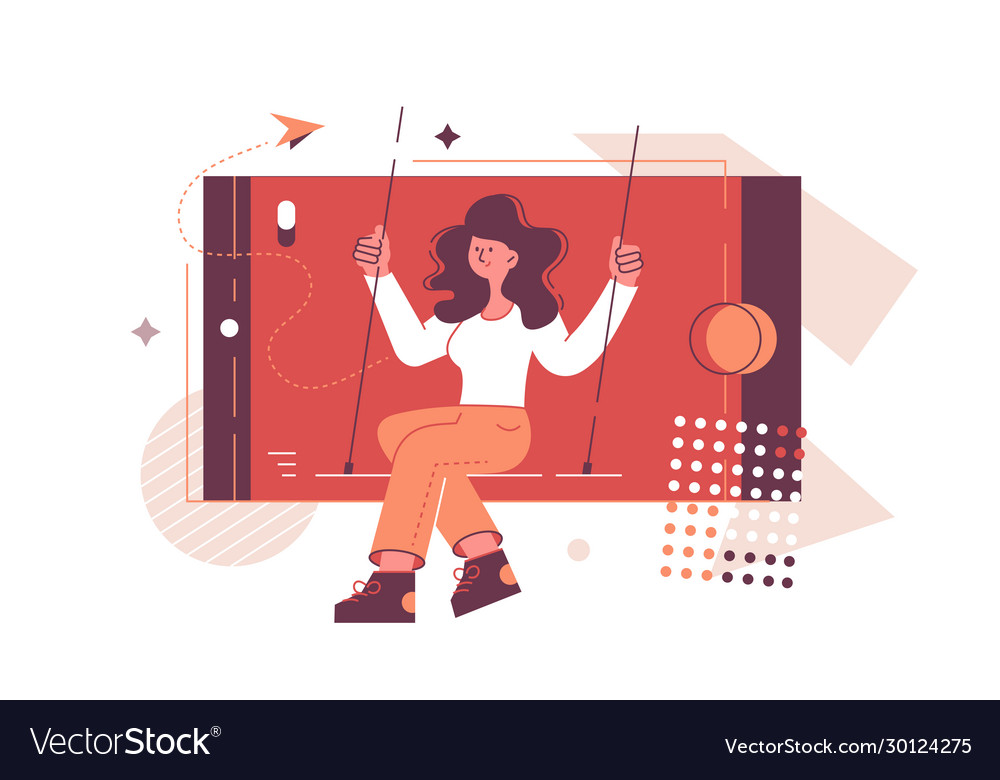 Smiling girl in phone vector