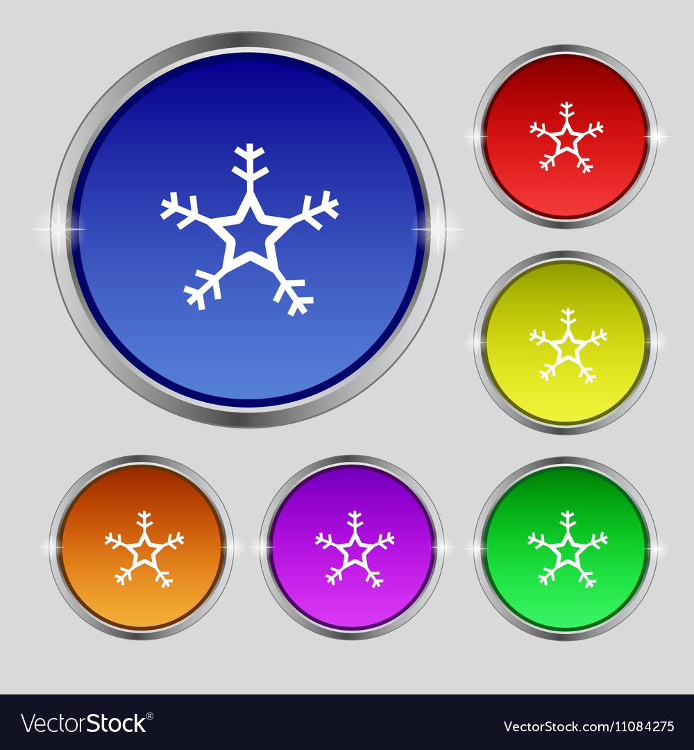 Snow icon sign Round symbol on bright colourful