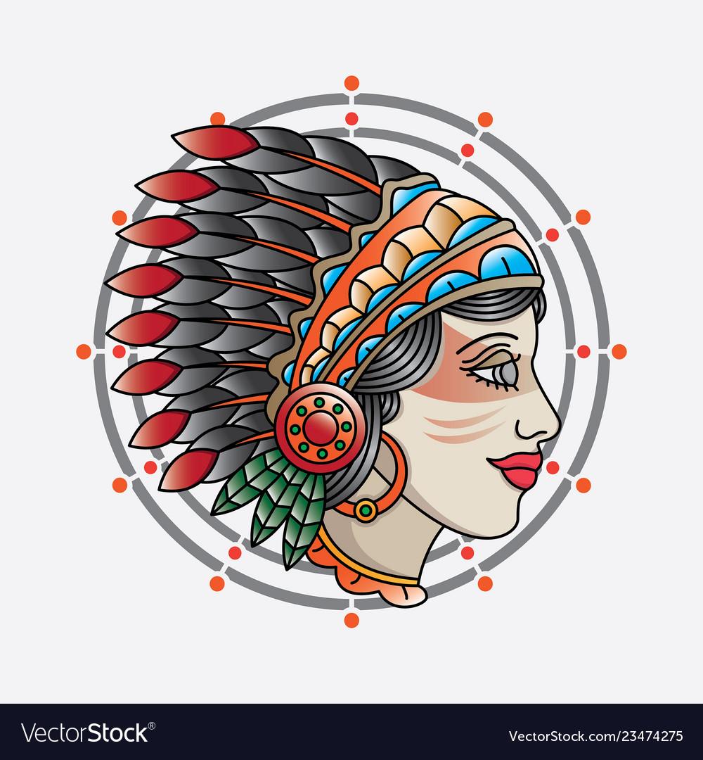 Traditional indian girl head tattoo