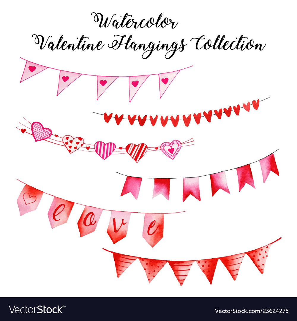 Watercolor valentine hanging collection