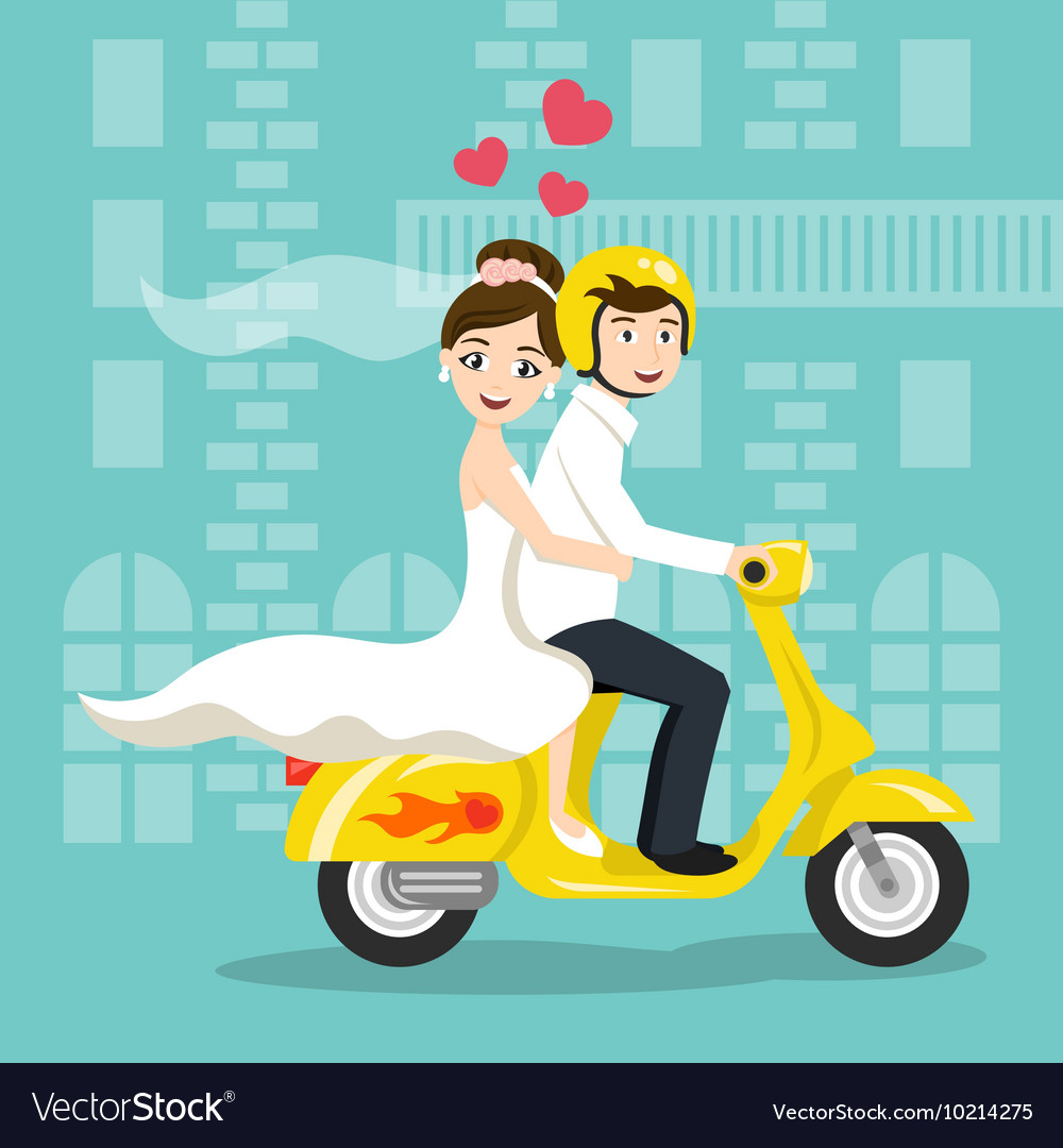 Young happy newlyweds bride and groom riding on