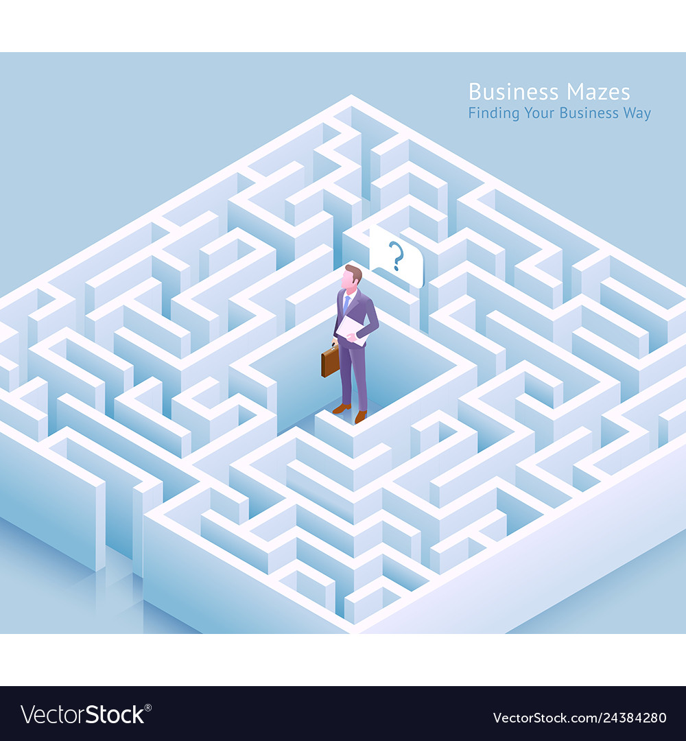 Businessman standing at labyrinth and thinking